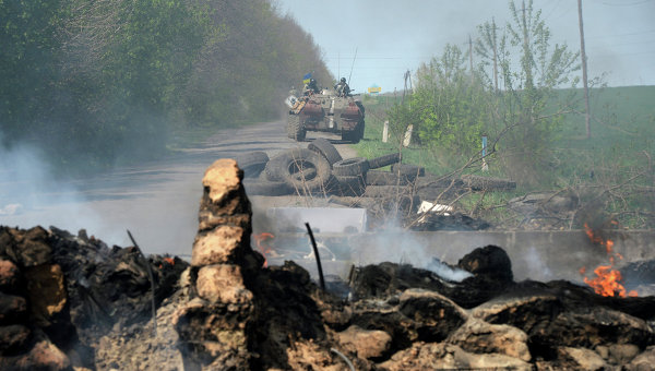 Украинские военные под Славянском 24 апреля 2014