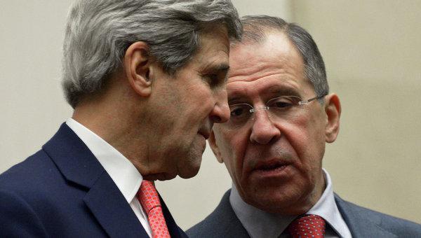 Министр иностранных дел РФ Сергей Лавров и госсекретарь США Джон Керри. Архивное фото