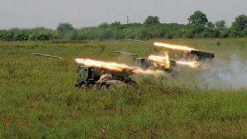 Ракетные установки Град на огневом рубеже