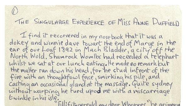 Девятистраничная рукопись Джона Леннона The Singularge Experience of Miss Anne Duffield