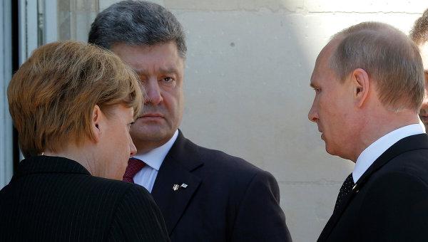 Ангела Меркель, Владимир Путин и Петр Порошенко на мероприятии по случаю 70-летия высадки союзников в Нормандии. Архивное фото