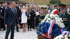 Глава МИД РФ Сергей Лавров на церемонии открытия музея-мемориала на территории бывшего фашистского лагеря в городе Марибор