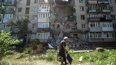 Пострадавший от обстрелов Украинскими военными дом в Славянске, архивное фото