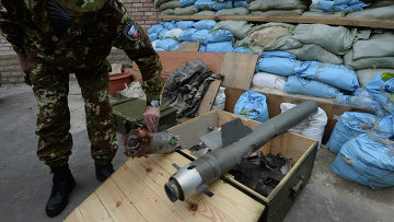 Фрагменты кассетных боеприпасов, применяемых Вооруженными силами Украины при обстреле города Горловка Донецкой области. Архивное фото.