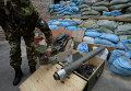 Фрагменты кассетных боеприпасов применяемых Вооруженными силами Украины при обстреле города Горловка Донецкой области