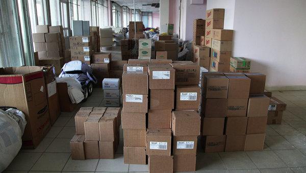 Склад гуманитарной помощи. Архивное фото