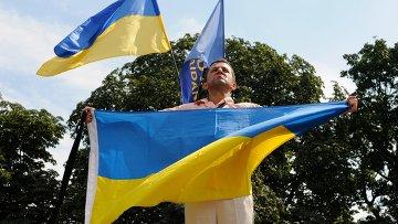 Участник митинга у Верховной Рады Украины. Архивное фото