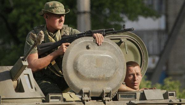 Бойцы ополчения в городе Краснодон