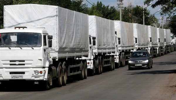 Машины с помощью для Украины на КПП Донецк. Архивное фото
