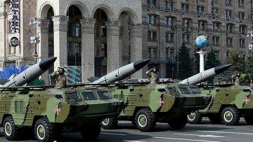 Тактические ракетные комплексы Точка-У во время парада в День Независимости Украины в Киеве