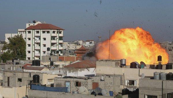 Сектор Газа во время обстрела 26 августа 2014