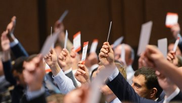 Делегаты съезда партии Солидарность голосуют за переименование партии в Блок Петра Порошенко в Киеве. Архивное фото