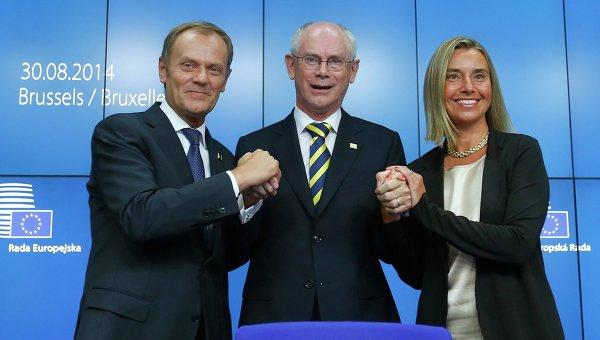 Херман Ван Ромпей поздравляет Дональда Туска и Федерику Могерини