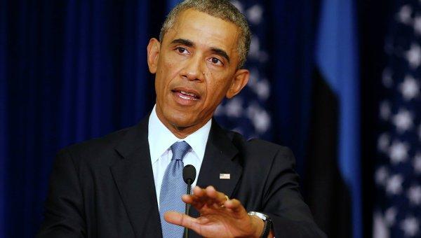 Президент Соединенных Штатов Америки Барак Обама на пресс-конфиренции во время визита в Эстонию