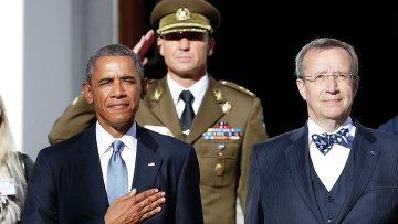 Президент Соединенных Штатов Америки Барак Обама и президент Эстонии Тоомас Хендрик Ильвес