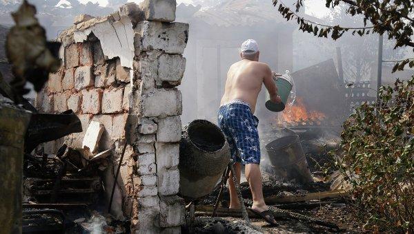 Последствия обстрела Донецка. 7 сентября 2014