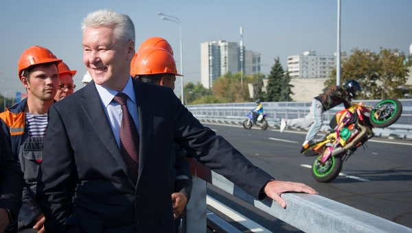 Мэр Москвы Сергей Собянин на открытии эстакады на Можайском шоссе