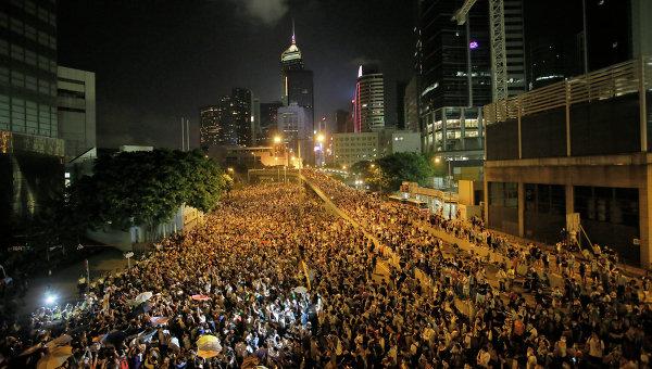 Финансовый район Гонконга во время акции протеста. Архивное фото.