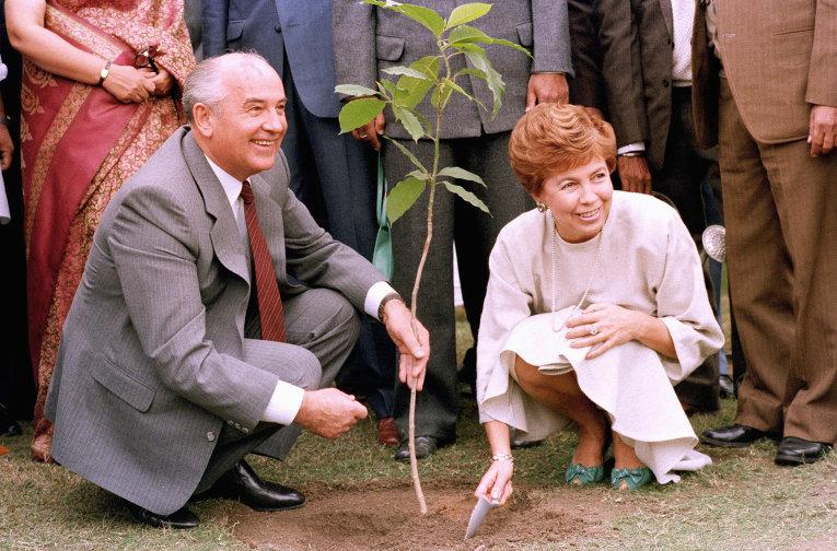 Генеральный секретарь ЦК КПСС Михаил Горбачев и супругой Раисой сажают дерево у мемориала Ганди в Дели
