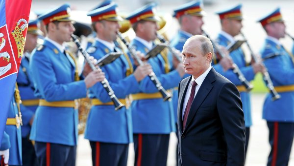 Владимир Путин во время визита в Сербию 16 октября 2014