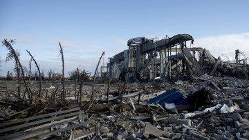 Разрушенное здание луганского аэропорта