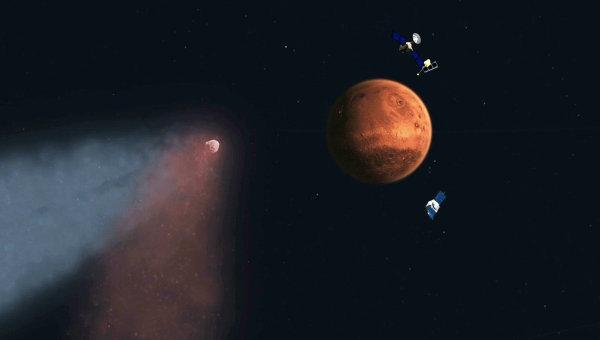 Художественное изображение приближения кометы Siding Spring к Марсу и космических аппаратов на его орбите