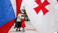 Россия и Грузия. Флаги. Архивное фото