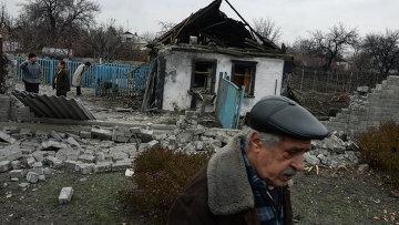 Жилой дом, разрушенный в результате обстрела Донецка. Архивное фото
