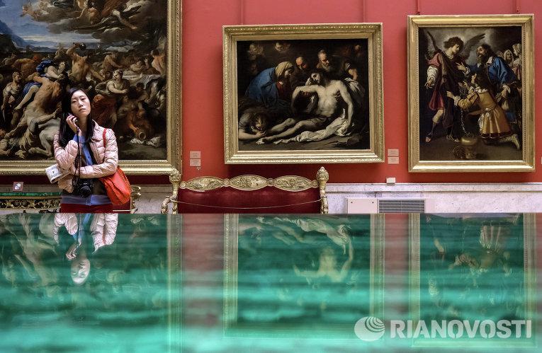 Девушка осматривает экспозицию Государственного Эрмитажа в Санкт-Петербурге
