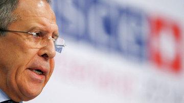 Министр иностранных дел России Сергей Лавров во время выступления в штаб-квартире ОБСЕ в Базеле