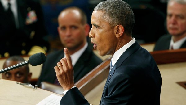 Президент США Барак Обама выступает с обращением О положении страны