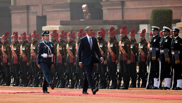 Президент США Барак Обама во время официального визита в Индиию