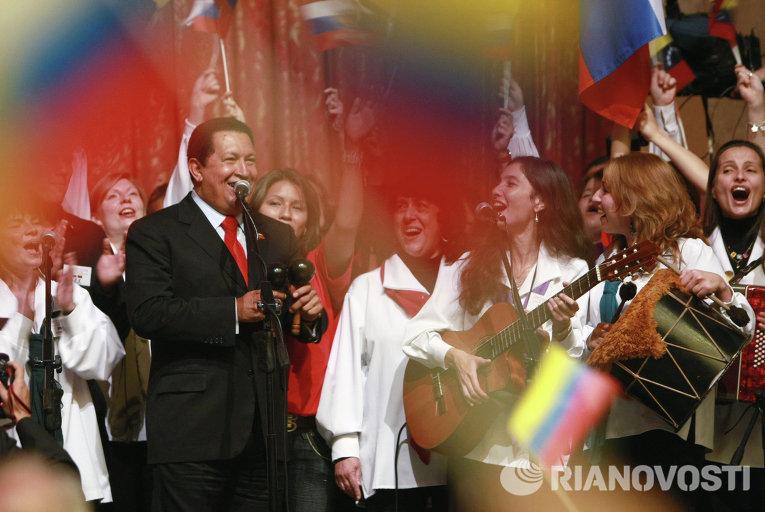 Президент Венесуэлы Уго Чавес во время выступления перед студентами Российского университета дружбы народов имени Патриса Лумумбы (РУДН)