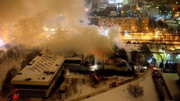 На месте пожара в библиотеке академического Института научной информации по общественным наукам