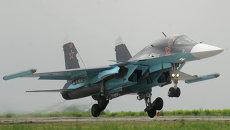 Су-34 с модулями КРЭП Хибины на законцовках крыльев. Архивное фото