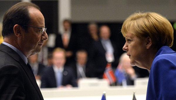 Франсуа Олланд и Ангела Меркель. Архивное фото