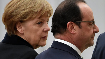 Канцлер Германии Ангела Меркель и президент Франции Франсуа Олланд . Архивное фото