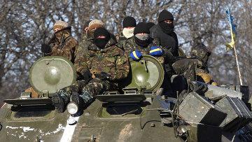Украинские военные в районе Дебальцево 17 февраля 2015