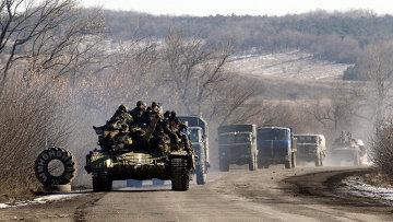Украинские войска подьезжают к Артемовску после выхода из Дебальцево