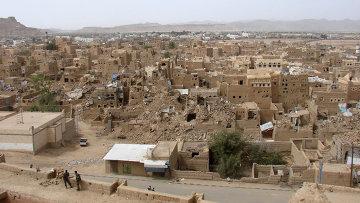 Вида на разрушения в городе Саада. Архивное фото