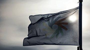 Флаг Сурдолимпийских игр в Ханты-Мансийске.