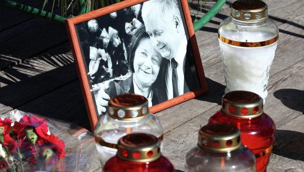 Траурное мероприятие посвященное пятой годовщине со дня авиакатастрофы польского самолета Ту-154 под