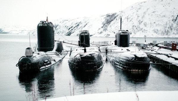 Подводные лодки на базе Северного флота, архивное фото