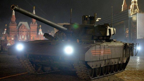 Танк Т-14 на гусеничной платформе Армата во время репетиции военного парада в Москве. Архивное фото