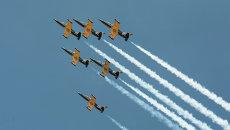 Выступление пилотажной группы Русь на самолетах Л-39 Альбатрос на авиашоу Олимпийское небо в Сочи