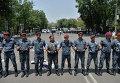 Сотрудники полиции во время акции протеста в Ереване