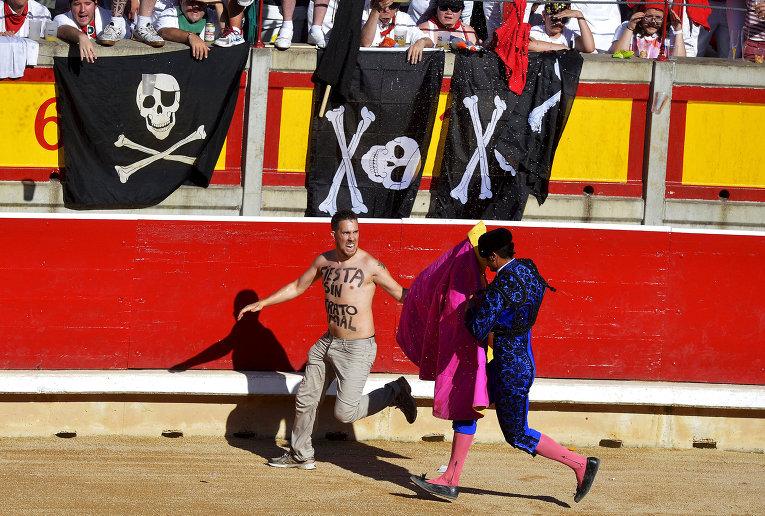 Защитник прав животных во время фестиваля Сан-Фермин в Памплоне, Испания