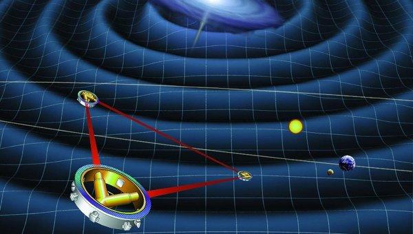 Так художник представил себе космический детектор гравитационных волн eLISA