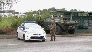 Блокпост близ станицы Луганской, усиленный патрулями полиции. Архивное фото