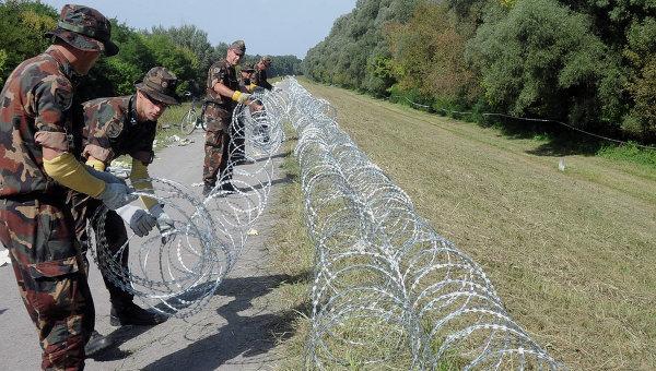 Военнослужащие венгерской армии устанавливают заграждения на границе с Хорватией. Архивное фото